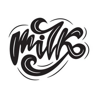 Lettering van melk. vector illustratie.