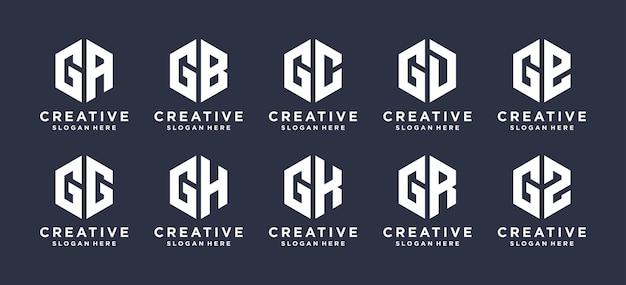 Lettermerk g met logo-ontwerp in zeshoekige vorm.