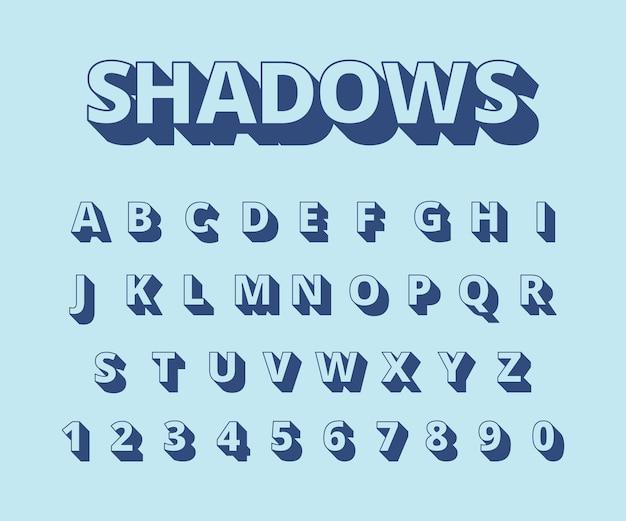 Letters lange schaduwen. alfabet met letters en cijfers in retro stijl typografie collectie set. illustratie alfabet typografie, lettertype kop, gezet abc
