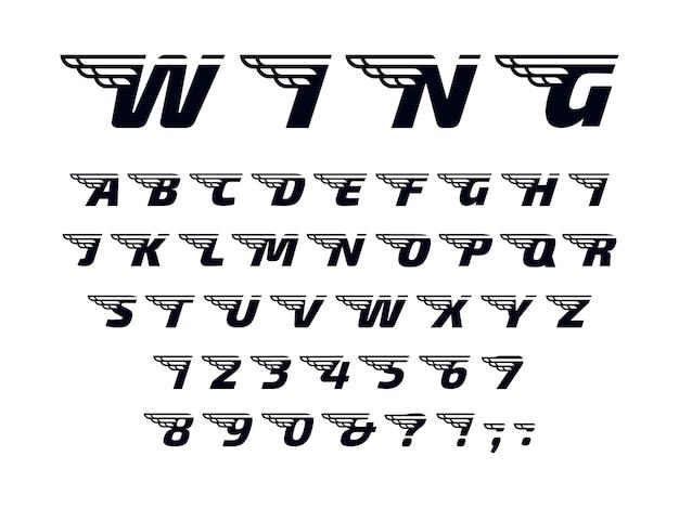 Letters met vleugels, vliegend alfabet en krachtig sportmonogram.