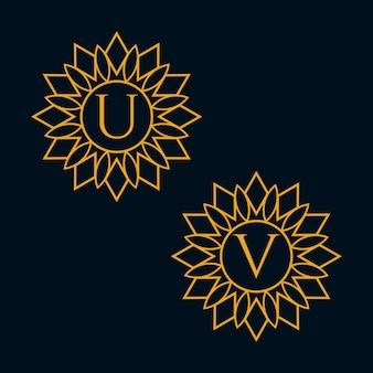 Letters u en v design vector