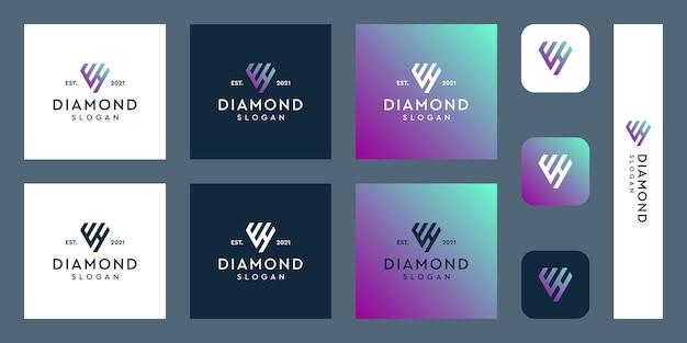 Letters w en h monogram logo met abstracte diamantvormen premium vectoren