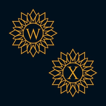 Letters w en x design vector