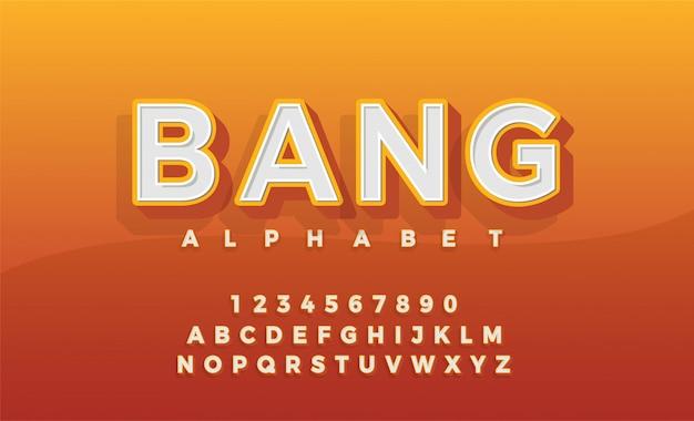 Lettertype 3d alfabet retro typeace