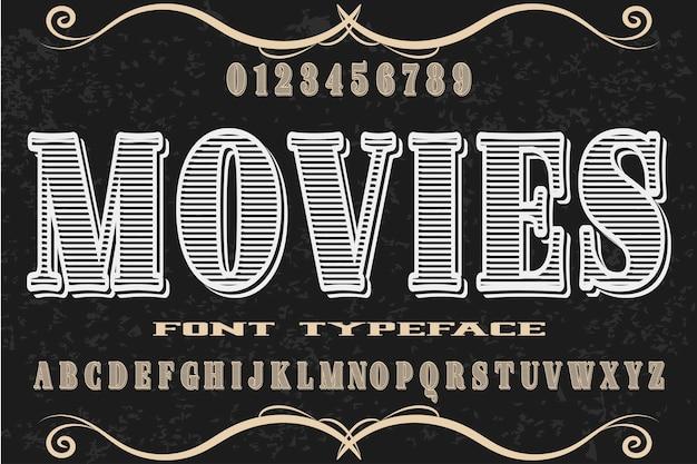 Lettertype alfabet handgemaakt vector films met de naam