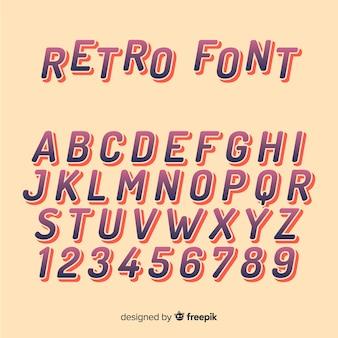 Lettertype alfabet in retro stijl