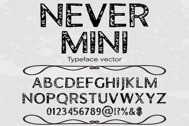 Lettertype alfabet lettertype ontwerp nooit mini