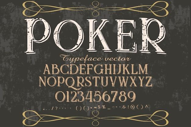 Lettertype alfabetische grafische stijl poker