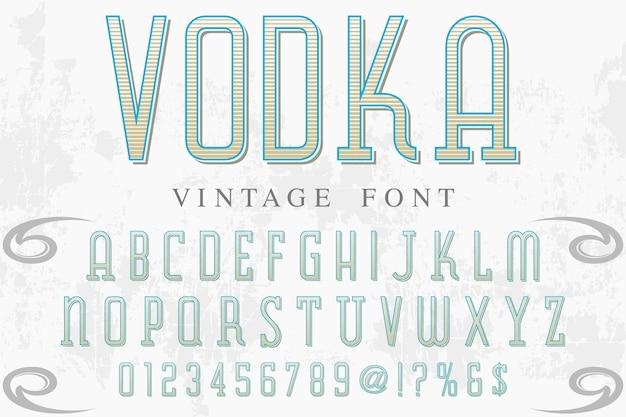 Lettertype alfabetische grafische stijl wodka