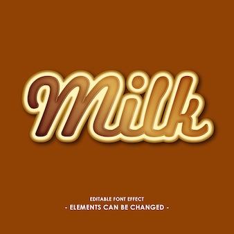 Lettertype-effect voor voor melk- of chocoladeproducten