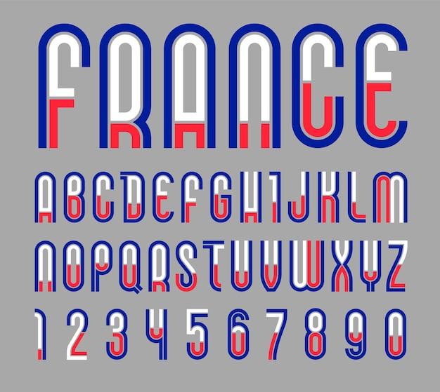Lettertype frankrijk. trendy helder alfabet, kleurrijke letters op een zwarte achtergrond.