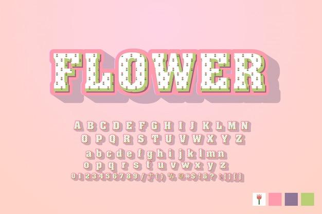 Lettertype gemaakt met bladeren, bloemen alfabet letters set