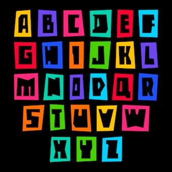 Lettertype gesneden op gekleurd papier