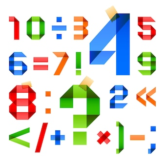Lettertype gevouwen in de vorm van gekleurd papier met arabische cijfers