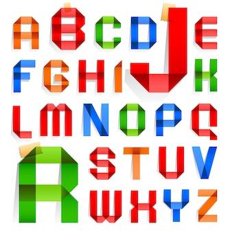 Lettertype gevouwen in de vorm van gekleurd papier