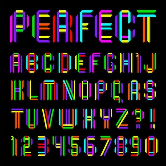 Lettertype gevouwen uit twee gekleurde banden