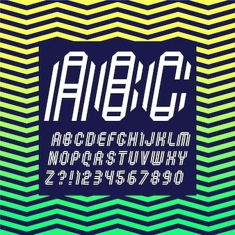 Lettertype gevouwen van twee witte papieren banden