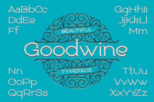 Lettertype in klassieke stijl met decoratief ornament