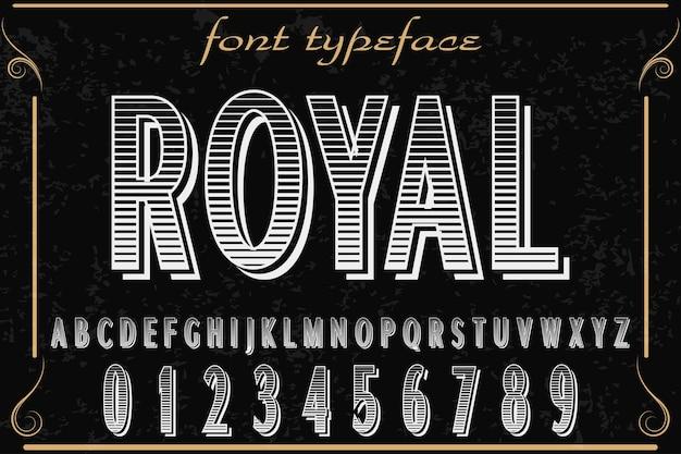 Lettertype label ontwerp naam koninklijk
