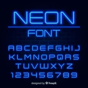 Lettertype met alfabet in neon stijl