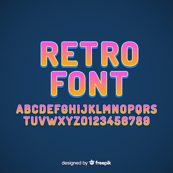 Lettertype met alfabet in retro stijl