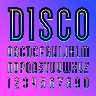 Lettertype naam disco. trendy alfabet, set letters