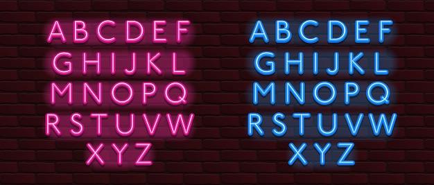 Lettertype neon alfabet lettertype bakstenen muur
