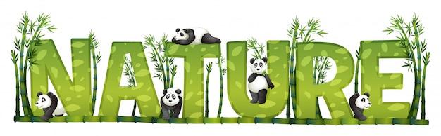 Lettertype ontwerp voor de natuur met panda en bamboe