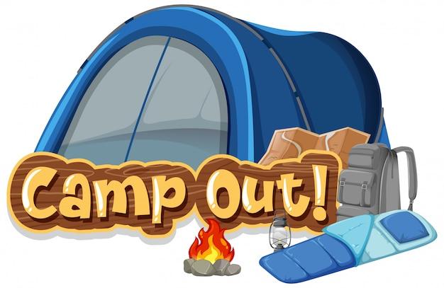 Lettertype ontwerp voor kamperen met tent in het park