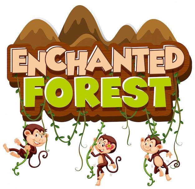 Lettertype ontwerp voor woord betoverd bos met klimmen apen