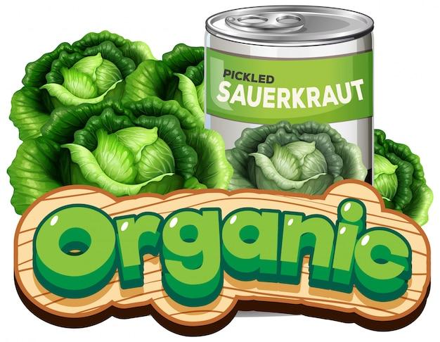 Lettertype ontwerp voor woord biologisch met zuurkool in blik