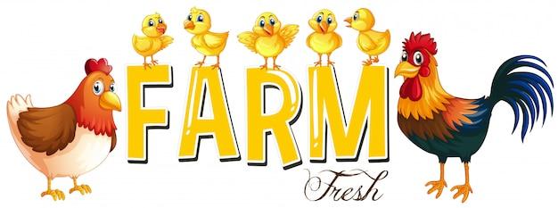 Lettertype ontwerp voor woord boerderij met kippen