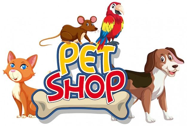 Lettertype ontwerp voor woord dierenwinkel met veel dieren