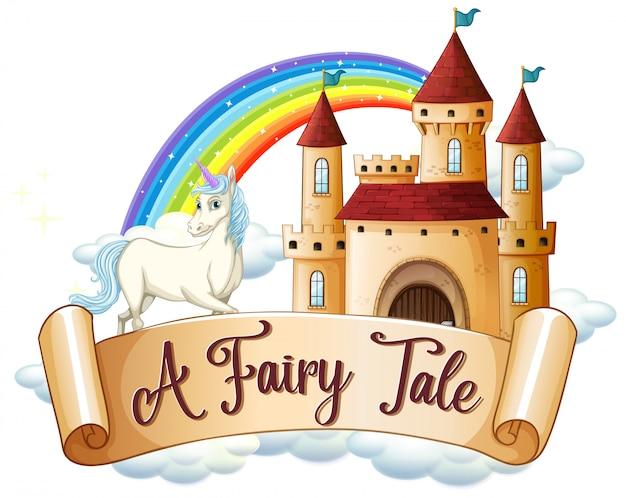 Lettertype ontwerp voor woord een sprookje met eenhoorn door het kasteel