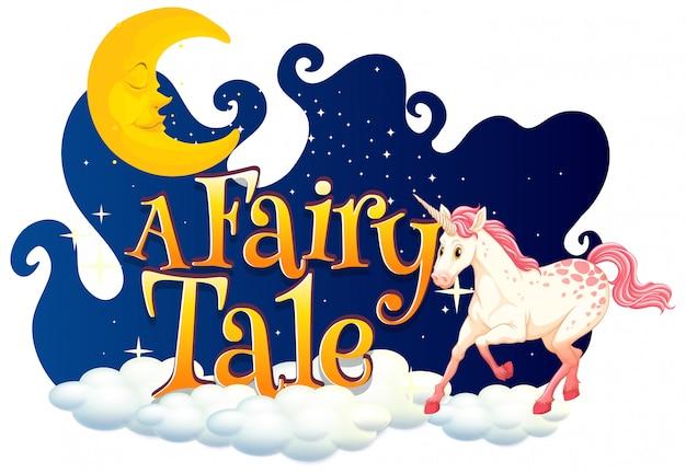 Lettertype ontwerp voor woord een sprookje met witte eenhoorn in de nachtelijke hemel