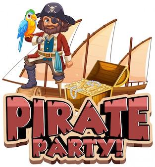 Lettertype ontwerp voor woord piratenfeest met piraat en papegaai huisdier