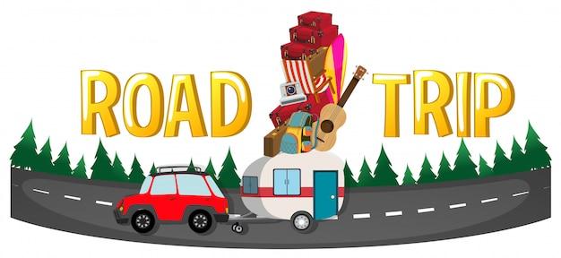 Lettertype ontwerp voor woord road trip