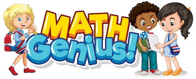 Lettertype ontwerp voor woord wiskunde genie met gelukkige kinderen