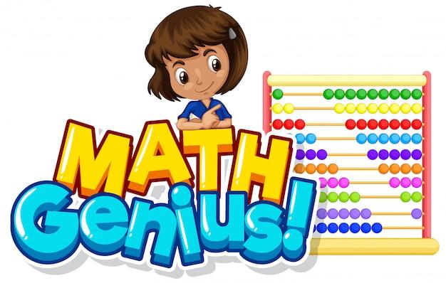 Lettertype ontwerp voor woord wiskunde genie met schattig meisje en telraam