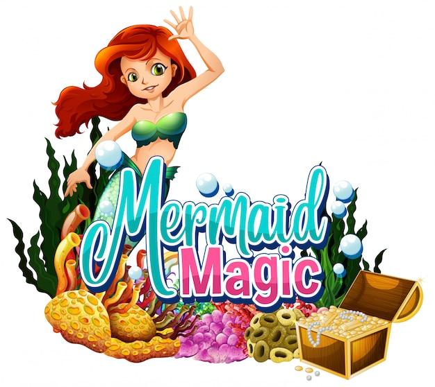 Lettertype ontwerp voor woord zeemeermin magie op witte achtergrond