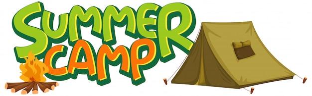 Lettertype ontwerp voor woord zomerkamp met tent en kampvuur