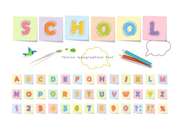 Lettertype potloodkrijt voor kinderen.