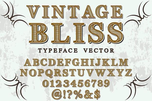 Lettertype schaduweffect labelontwerp vintage gelukzaligheid