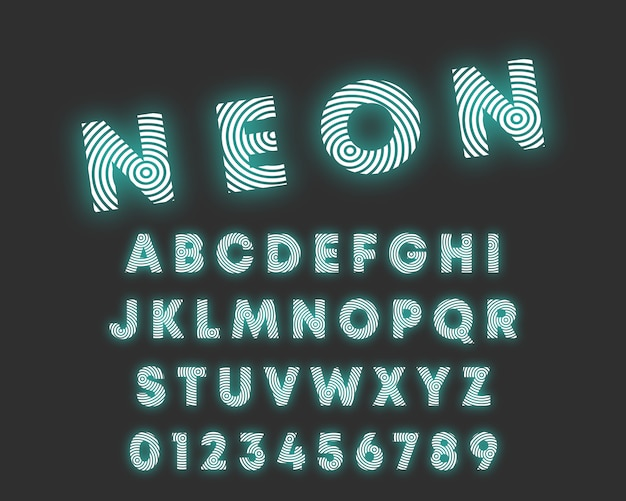 Lettertype van het cirkelvormige alfabet