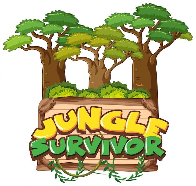 Lettertype voor overlevende van de jungle van het woord op wit