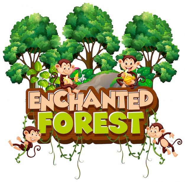 Lettertype voor woord betoverd bos met apen in het bos