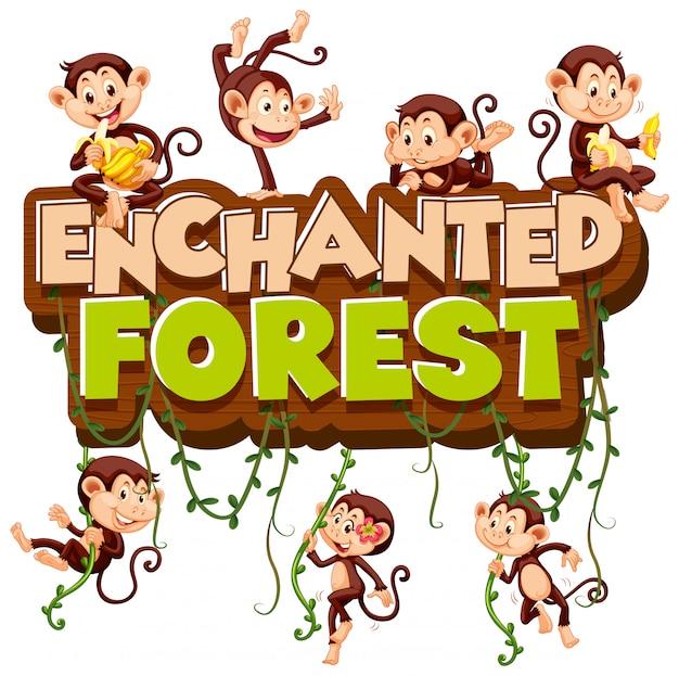 Lettertype voor woord betoverd bos met spelende apen