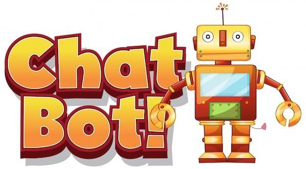 Lettertype voor woord chat bot op witte achtergrond