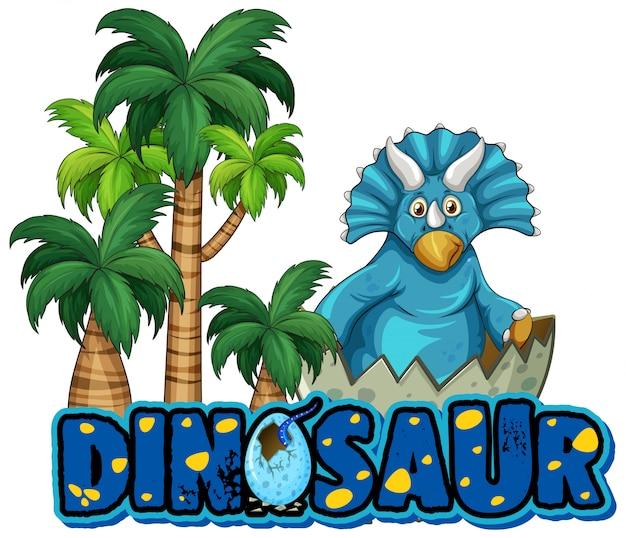 Lettertype voor woord dinosaurus met triceratops in bos