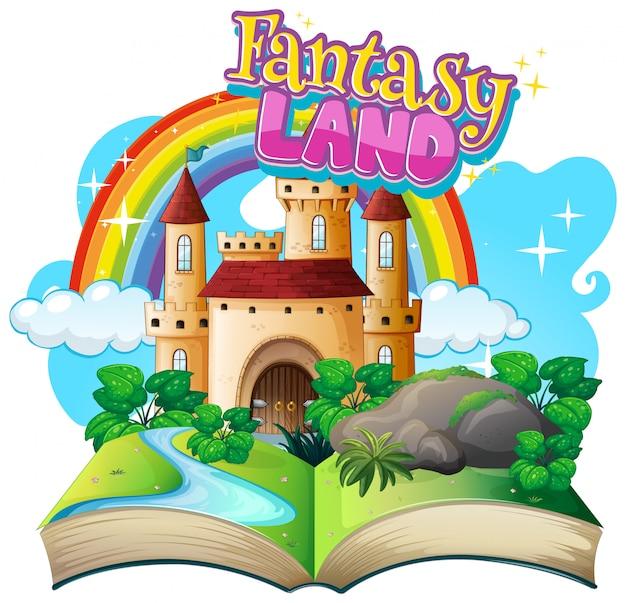 Lettertype voor woord fantasieland met kasteeltorens